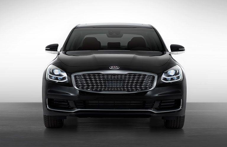 2020 Kia K900 black exterior front fascia parked white background