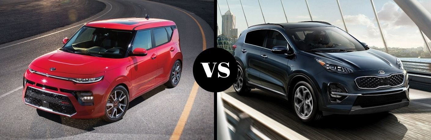 Red 2020 Kia Soul and blue 2020 Kia Sportage side by side