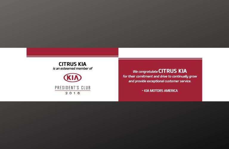 CItrus Kia Kia President's Club award