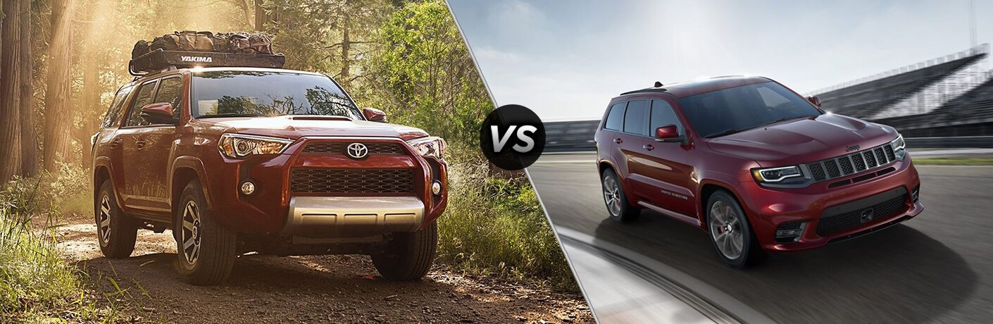 Red 2018 Toyota 4Runner and Jeep Grand Cherokee models positioned next to each other