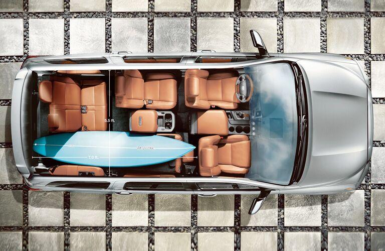 birds eye view of interior of 2019 Toyota Sequoia