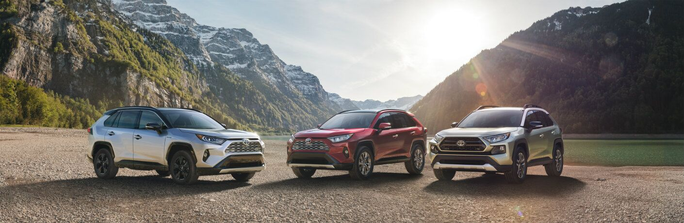 Three 2019 Toyota RAV4 models parked in front of mountainous terrain