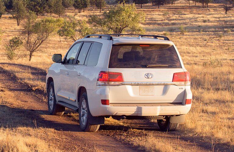 rear of white 2020 Toyota Land Cruiser