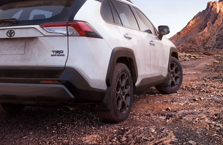rear of white 2020 Toyota RAV4 TRD Off-Road