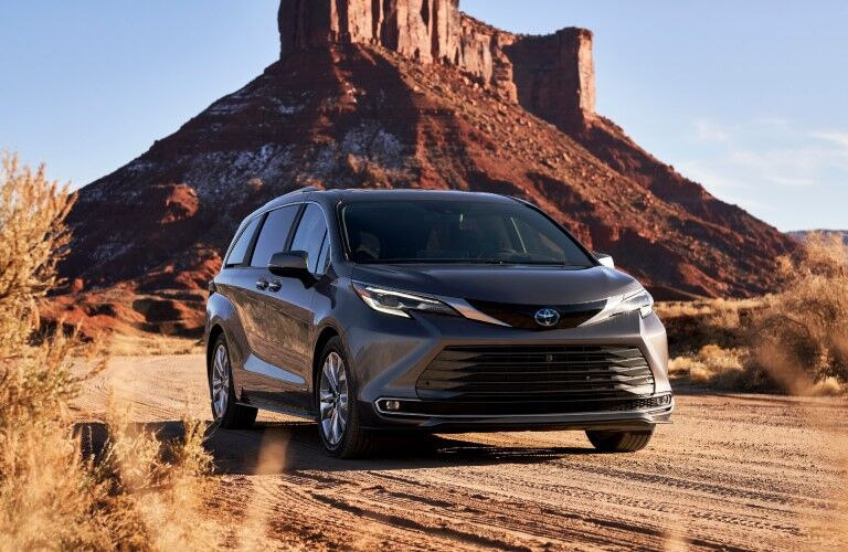 front view of the 2021 Toyota Sienna in the desert
