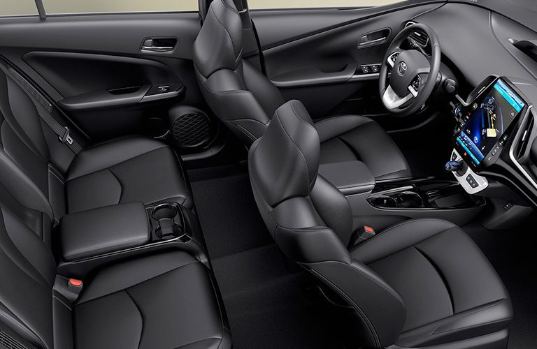 interior view of two rows of seating 2018 prius prime