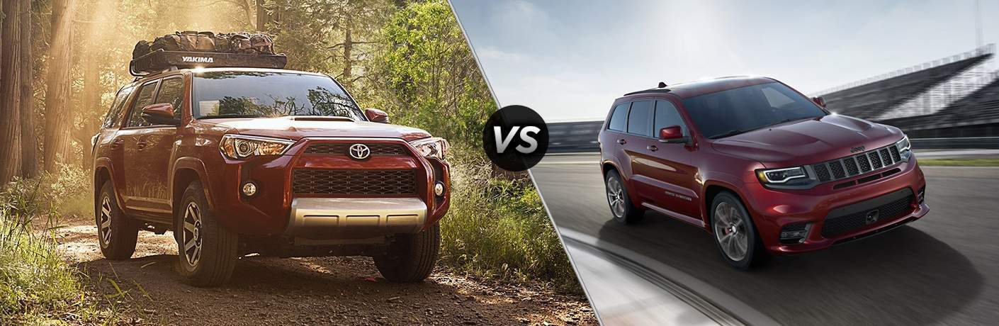 the 2018 Toyota 4Runner and 2018 Jeep Grand Cherokee in side by side images separated by a slash