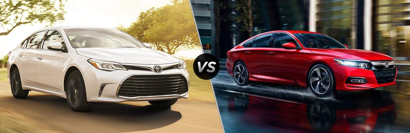 the 2018 Toyota Avalon and 2018 Honda Accord side by side