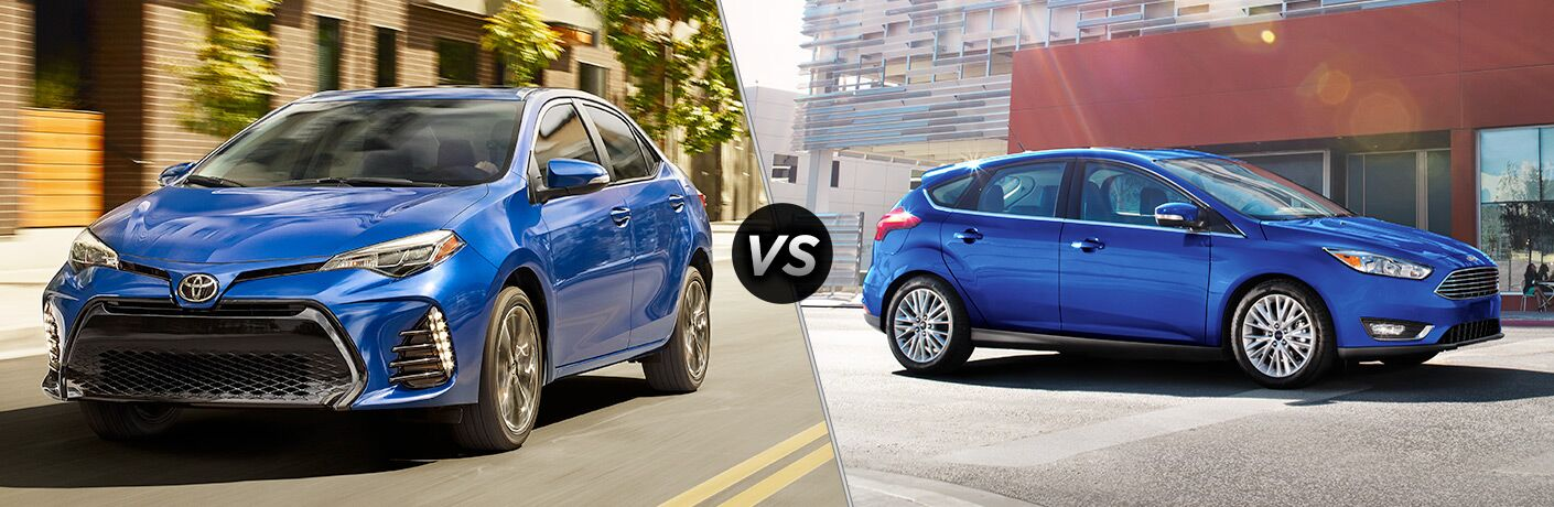 2018 Toyota Corolla vs Ford Focus, Both in Blue Paint Colors