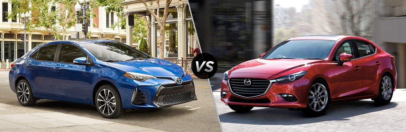 2018 Toyota Corolla vs Mazda3, with the Corolla in Blue and the Mazda3 in Red