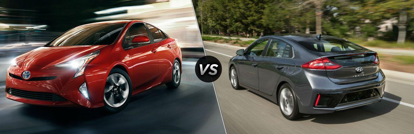 red 2018 Toyota Prius vs gray 2018 Hyundai Ioniq Hybrid