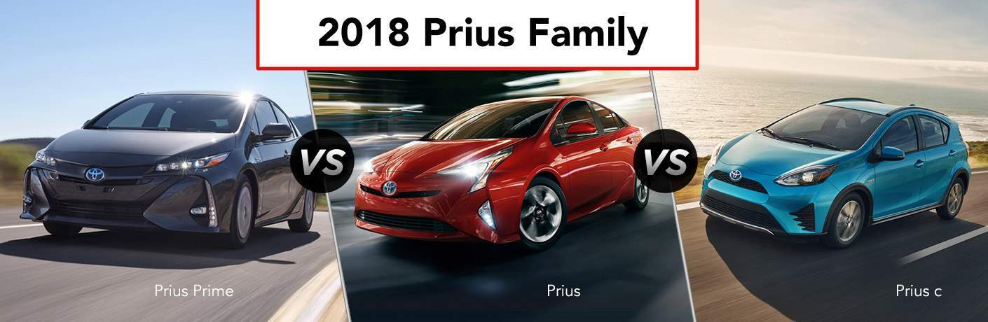 images of the 2018 Prius Prime, 2018 Prius, and 2018 PriusC with the title 2018 Prius Family over the top