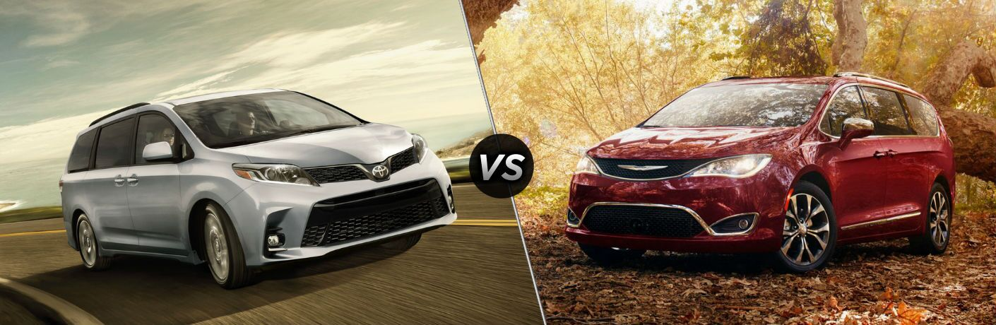 silver 2018 Toyota Sienna set against red 2018 Chrysler Pacifica