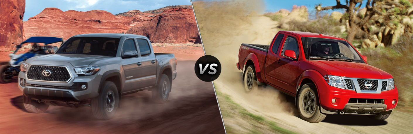 light brown 2018 Toyota Tacoma set against red 2018 Nissan Frontier