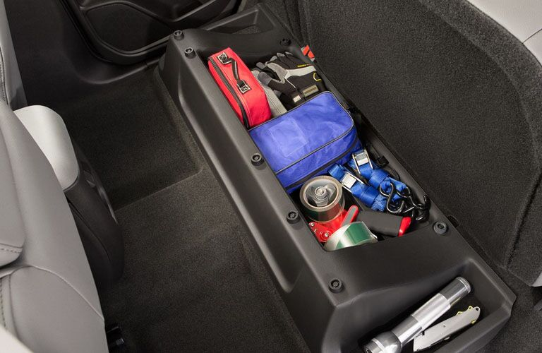Under-seat rear storage area of the 2019 Chevy Colorado