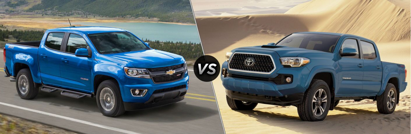 "Passenger side exterior view of a blue 2019 Chevy Colorado on the left ""vs"" driver side exterior view of a blue 2019 Toyota Tacoma on the right"
