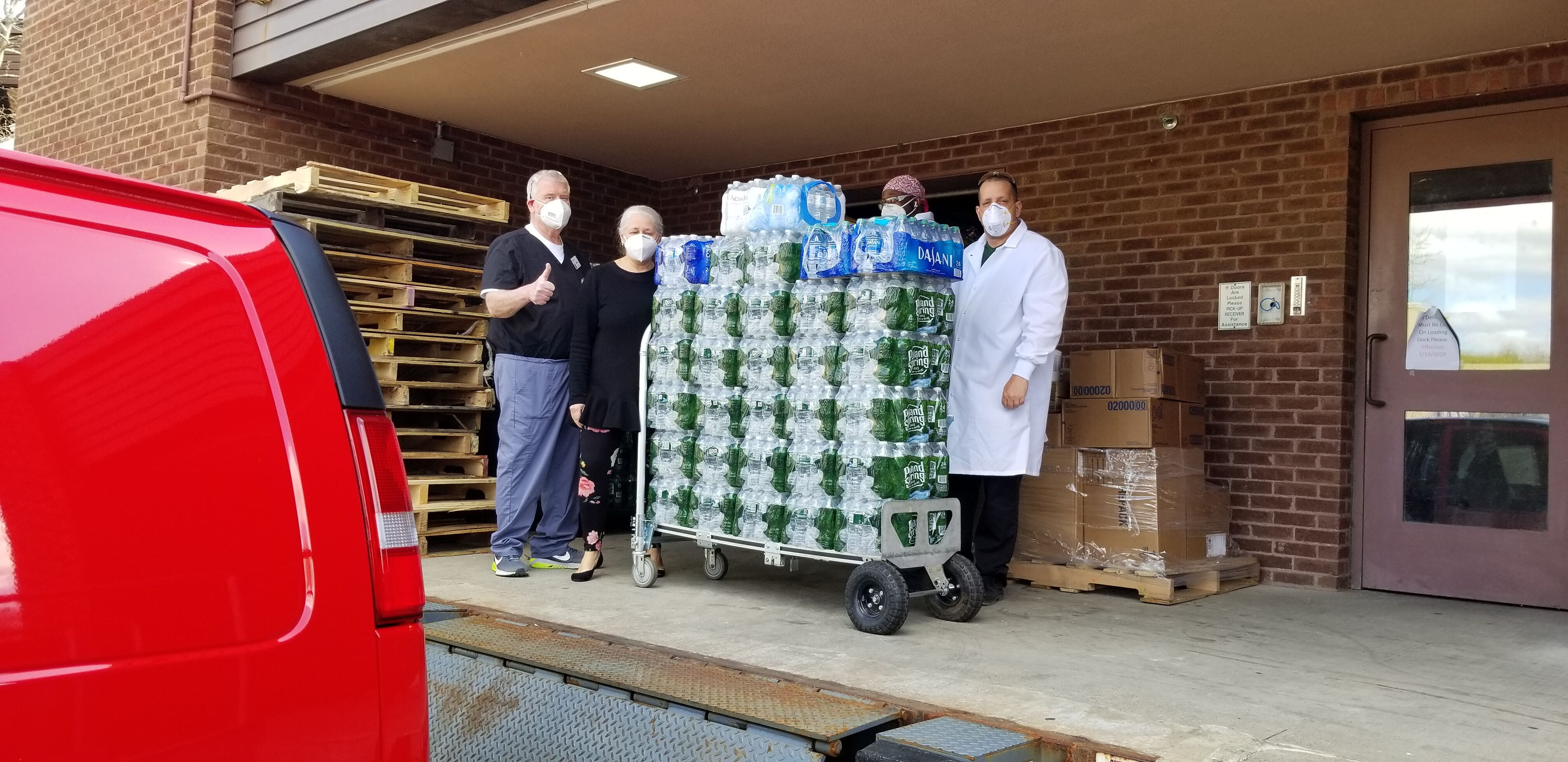 Thanks to Walter Stewarts Market and the New Canaan Moms Facebook Group, Karl Chevrolet was able to deliver bottled water to the front-line Heathcare workers at Waveny Lifecare Network