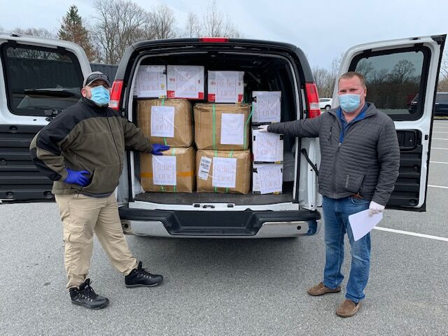 Critically needed PPE donated by Grace Farms Foundation is delivered to Connecticut Hospitals and First Responders in a Chevy Express Van provided by Karl Chevrolet