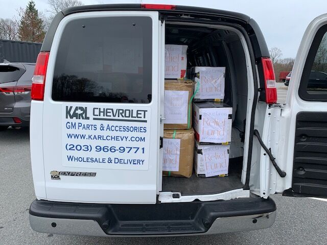 One of Karl Chevrolet's Express Cargo Vans helps Grace Farms Foundation deliver PPE to Connecticut Hospitals and First Responders