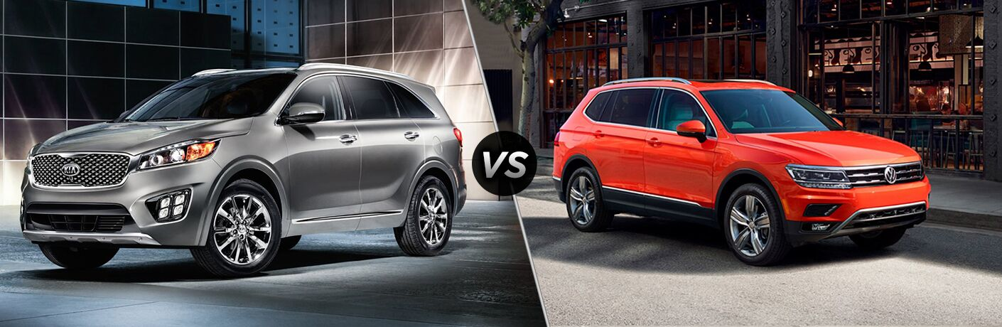 Silver 2018 Kia Sorento positioned next to orange 2018 Volkswagen Tiguan