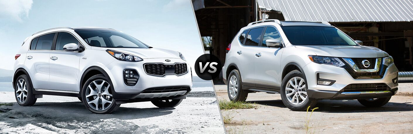 White Kia Sportage and Nissan Rogue models positioned next to each other in comparison image