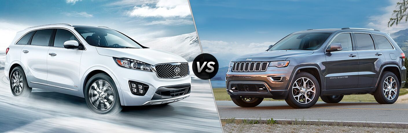 2018 Kia Sorento positioned next to 2018 Jeep Grand Cherokee in comparison image