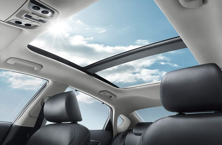 Interior view of the panoramic sunroof of a 2019 Kia Candenza