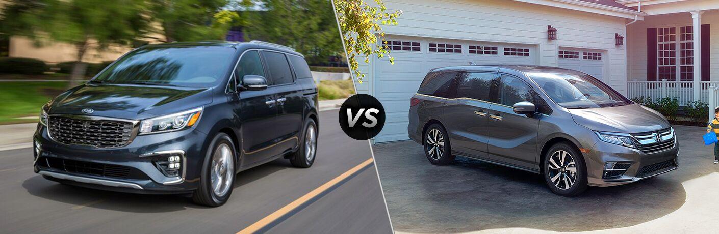 Comparison image of a blue 2019 Kia Sedona and a gray 2019 Honda Odyssey