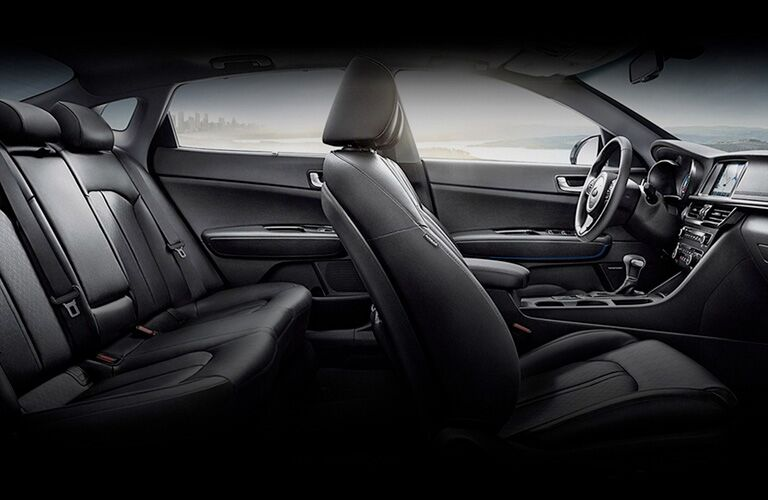 Dark grey dashboard and seats in 2020 Kia Optima