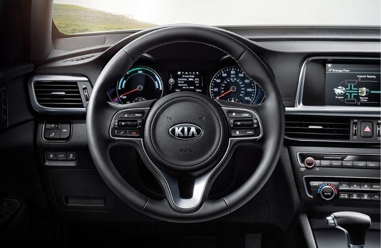 Interior view of the steering wheel inside a 2020 Kia Optima Hybrid