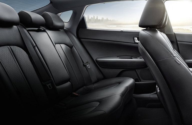 Interior view of the rear seating area inside a 2020 Kia Optima Hybrid