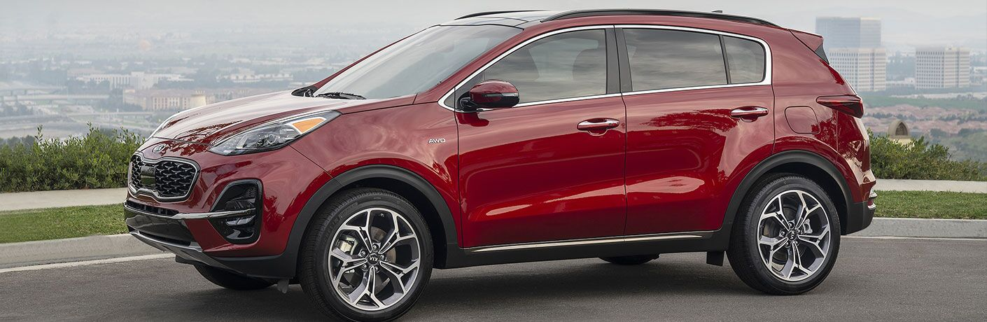 Exterior view of a red 2020 Kia Sportage