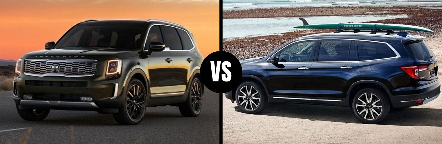 Comparison image of a green 2020 Kia Telluride and a blue 2020 Honda Pilot
