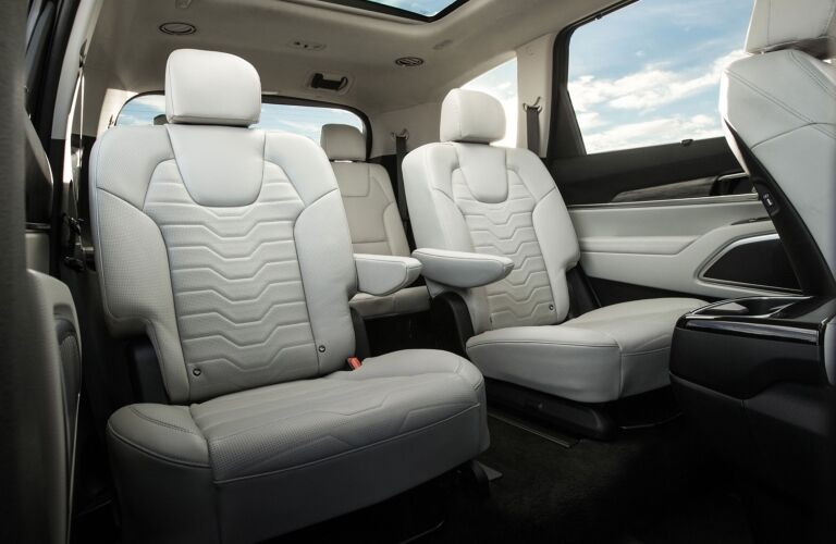 Interior view of the rear seating area inside a 2020 Kia Telluride