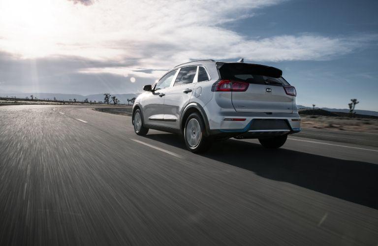 Silver 2020 Kia Niro Plug-In Hybrid Rear Exterior in a Desert
