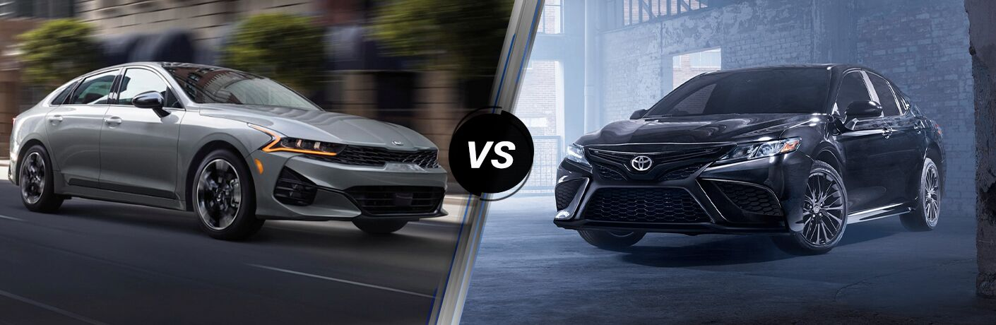 Gray 2021 Kia K5 on a City Street vs Black 2021 Toyota Camry in a Garage