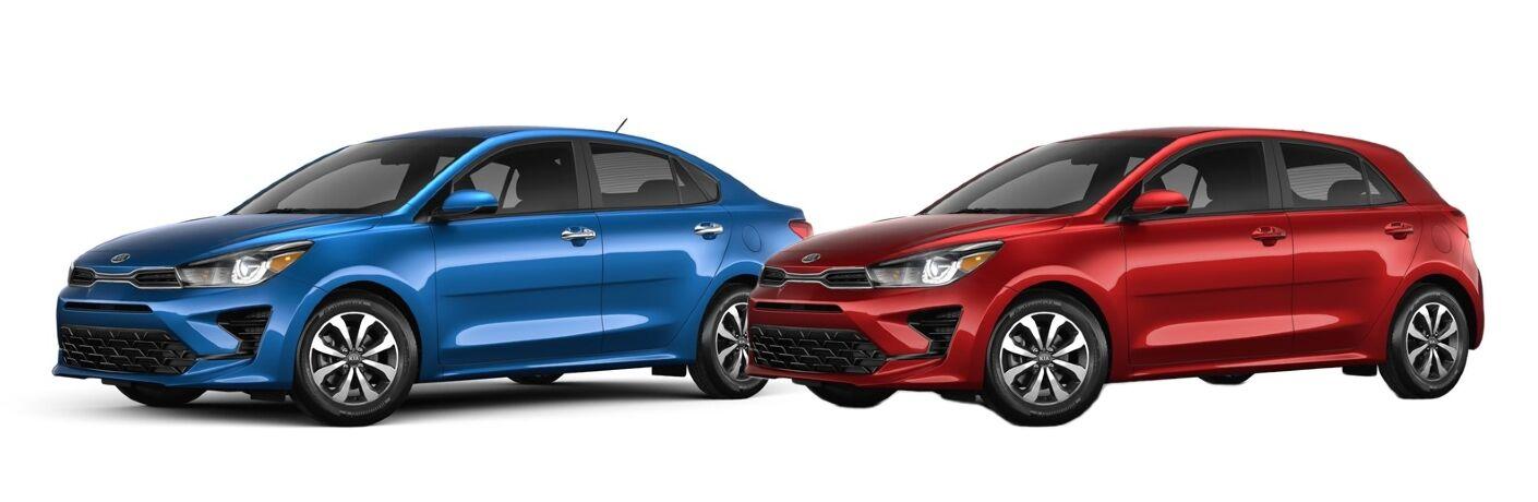 Blue 2021 Kia Rio Sedan and Red 2021 Kia Rio 5-Door on White Background