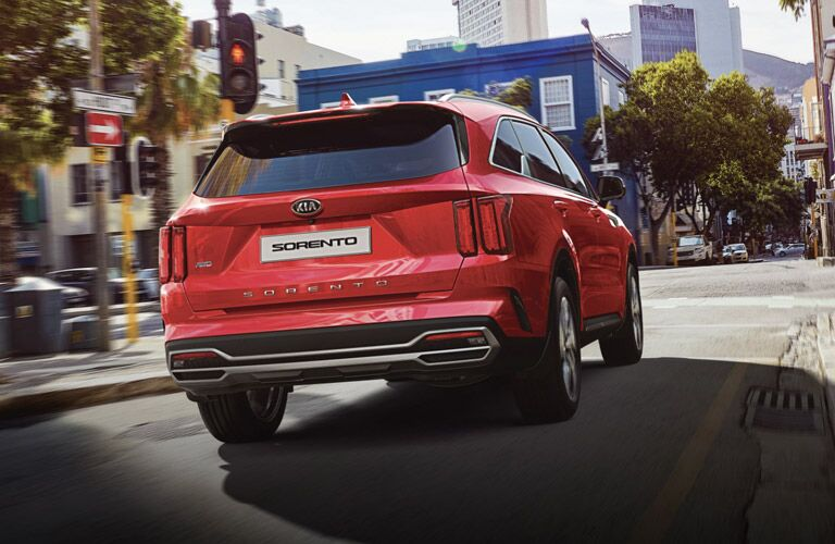 Red 2021 Kia Sorento Rear Exterior on a City Street