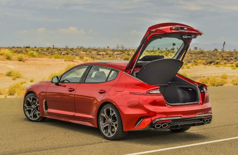 Red 2021 Kia Stinger Rear Exterior with Cargo Area Open