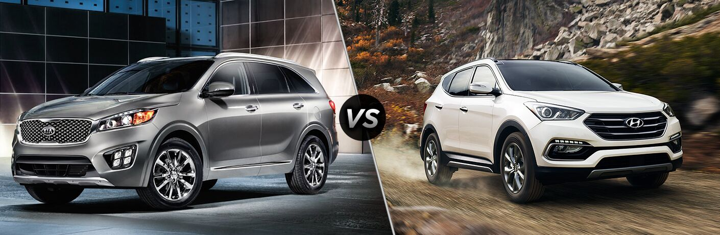 2018 Kia Sorento vs 2018 Hyundai Santa Fe with VS sign