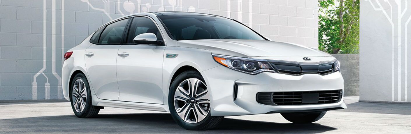 2019 Kia Optima Hybrid parked showing front and side profile