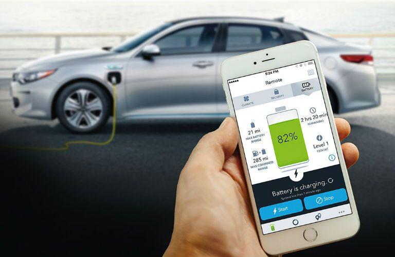 2019 Kia Optima Plug-In Hybrid and smartphone showing charging status
