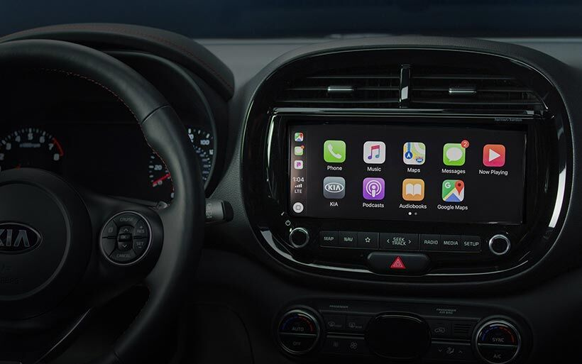 The built-in touch-screen display of a 2020 Kia Soul