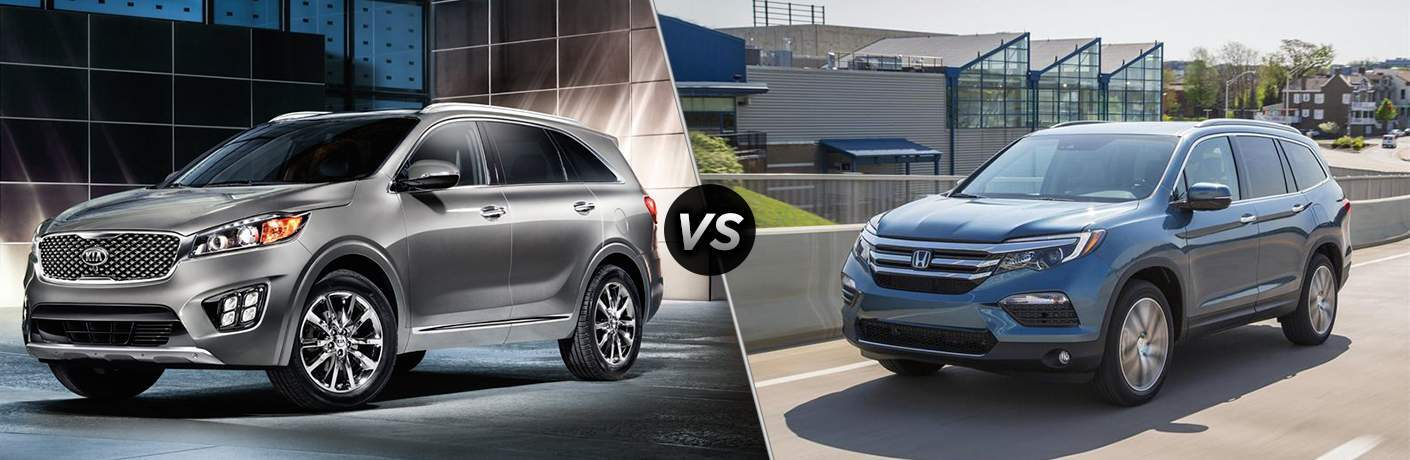 2018 Kia Sorento parked in front of a modern building vs 2017 Honda Pilot parked on a residential street