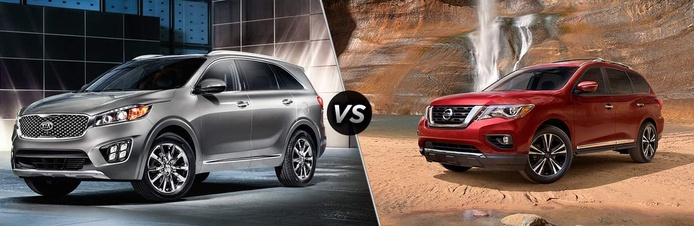 2018 Kia Sorento in a room with dark and light checkered walls vs 2017 Nissan Pathfinder next to a small waterfall in a desert