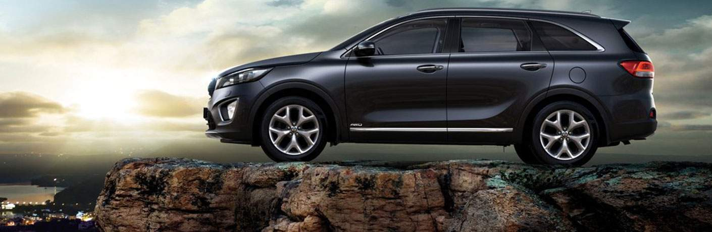 Driver's side profile on the 2018 Kia Sorento parked on a cliff overlooking a city
