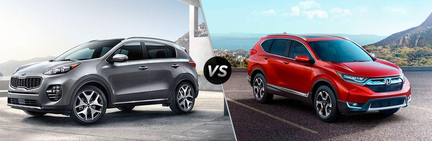 2018 Kia Sportage parked on a concrete slab vs 2017 Honda CR-V in a parking lot over a city
