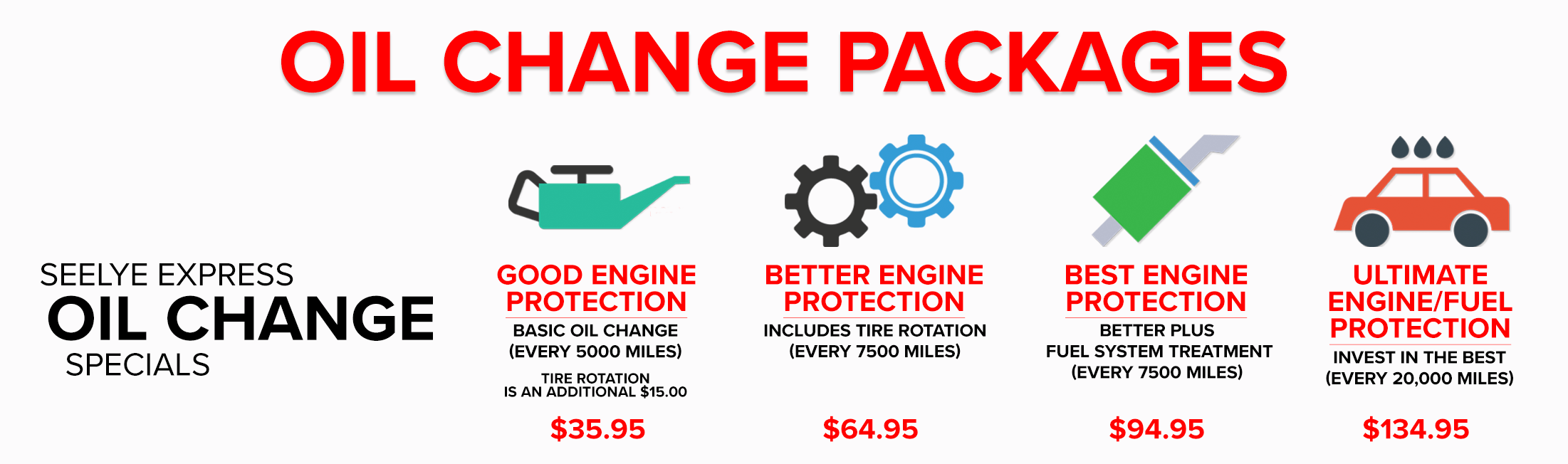 Seelye Oil Change Packages