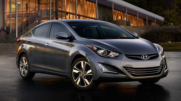 2015 Hyundai Elantra in the city at night