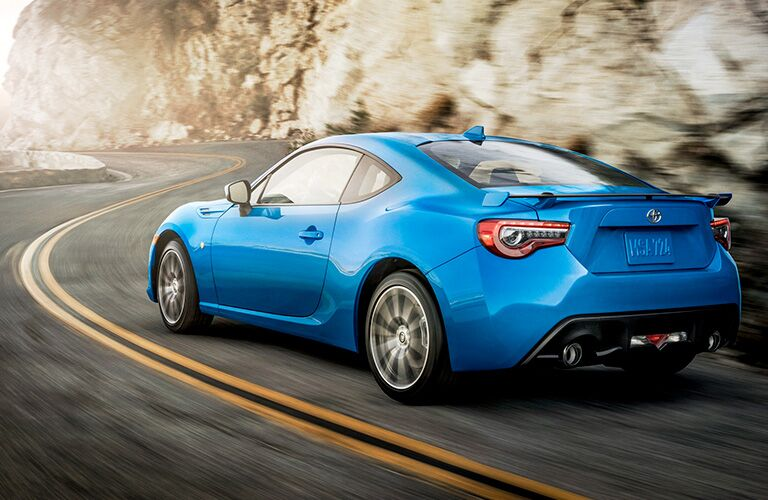 Exterior view of the rear of a blue 2019 Toyota 86